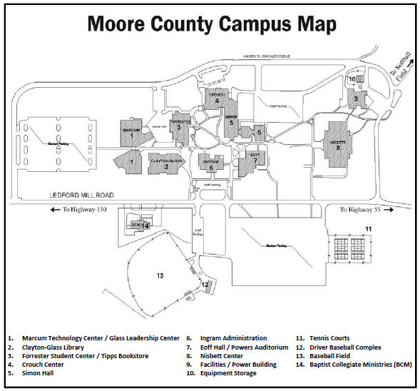 Map of Moore County Campus